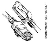 ethernet connector rj45.... | Shutterstock .eps vector #583700437