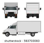 white truck template. cargo van ... | Shutterstock .eps vector #583703083