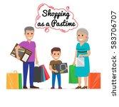 shopping as a pastime vector... | Shutterstock .eps vector #583706707