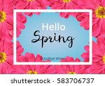 spring banner with pink flowers ... | Shutterstock .eps vector #583706737