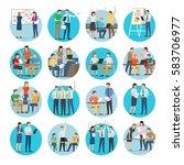 office teamworking process... | Shutterstock .eps vector #583706977