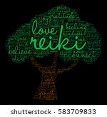 reiki word cloud on a black... | Shutterstock .eps vector #583709833