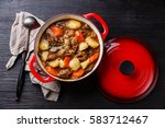 beef meat stew pot with... | Shutterstock . vector #583712467