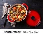beef meat stew pot with...   Shutterstock . vector #583712467