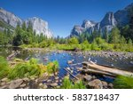 classic view of scenic yosemite ... | Shutterstock . vector #583718437