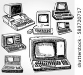 vintage computers hand drawn | Shutterstock .eps vector #583720717