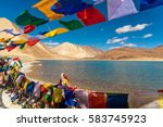 mountains and pangong tso  lake ... | Shutterstock . vector #583745923