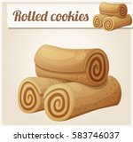 rolled cookies. detailed vector ...