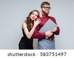 pretty woman from back of male... | Shutterstock . vector #583751497