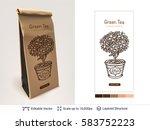 tea package design. paper... | Shutterstock .eps vector #583752223