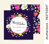 wedding invitation card suite... | Shutterstock .eps vector #583752847