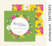 wedding invitation card suite... | Shutterstock .eps vector #583752853