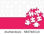 white puzzles pieces arranged... | Shutterstock .eps vector #583760113