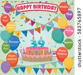 39th birthday cake and... | Shutterstock .eps vector #583765897