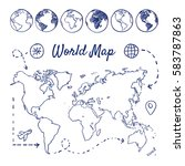 doodle set of world map  ... | Shutterstock .eps vector #583787863