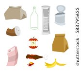 rubbish icon collection.... | Shutterstock .eps vector #583795633