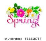 pink lettering spring.... | Shutterstock .eps vector #583818757