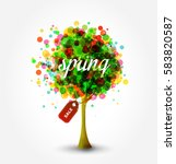 spring sale banner  with... | Shutterstock .eps vector #583820587