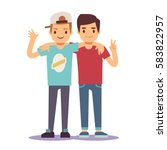 adult guys  men  two best... | Shutterstock .eps vector #583822957