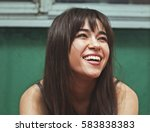 Small photo of Woman smiling with perfect smile and white teeth