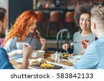 friends  talking and having fun ... | Shutterstock . vector #583842133