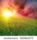 yelow sun set over the weat... | Shutterstock . vector #583860373