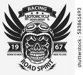 motorcycle t shirt graphics.... | Shutterstock .eps vector #583861693