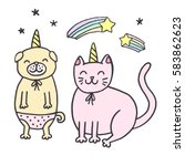 cute greeting card  sticker ... | Shutterstock .eps vector #583862623