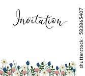 invitation hand lettering card. ... | Shutterstock .eps vector #583865407