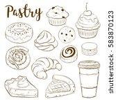 vector set with pasty goods.... | Shutterstock .eps vector #583870123