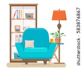 book shelf and chair with lamp. ... | Shutterstock .eps vector #583876867