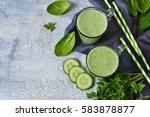 green vegetable smoothie with...   Shutterstock . vector #583878877