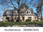 large tan limestone house | Shutterstock . vector #583887643