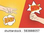 rock paper scissors hand game....   Shutterstock . vector #583888057