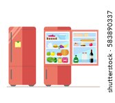 indoor and outdoor refrigerator ... | Shutterstock .eps vector #583890337