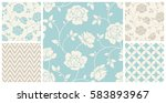 vector set of vintage seamless...