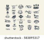hand drawn farm fresh logo set. ... | Shutterstock .eps vector #583895317