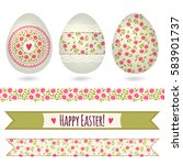 set with easter eggs and...   Shutterstock .eps vector #583901737