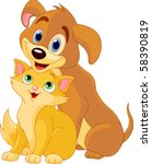 Stock vector cute dog and cat best friends ever 58390819