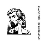 angry woman on phone   retro... | Shutterstock .eps vector #58390945