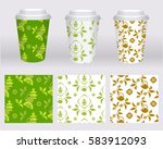 paper cup design. cardboard or... | Shutterstock .eps vector #583912093