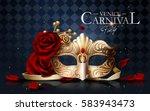 venice carnival poster  golden... | Shutterstock .eps vector #583943473