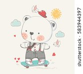 cute baby bear on skateboard.... | Shutterstock .eps vector #583944397