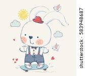 bunny rabbit on skateboard hand ... | Shutterstock .eps vector #583948687