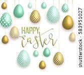 happy easter white background...   Shutterstock .eps vector #583951027