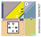 trendy vector summer cards... | Shutterstock .eps vector #583967827