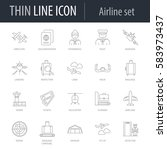 icons set of airline. symbol of ... | Shutterstock .eps vector #583973437