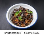 food insect  fried crickets in... | Shutterstock . vector #583984633