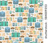 travel seamless pattern.... | Shutterstock .eps vector #584009353