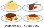 different food on dish... | Shutterstock .eps vector #584019157